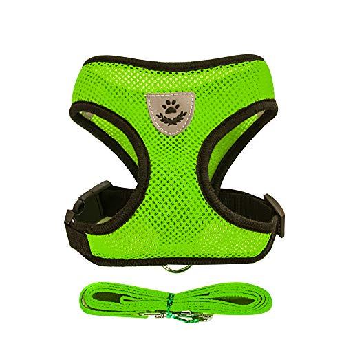 BLEVET Air Mesh Gewebe Atmungsaktives Hundegeschirr für Kleinen Hund oder Katze MZ046 (L, Green)
