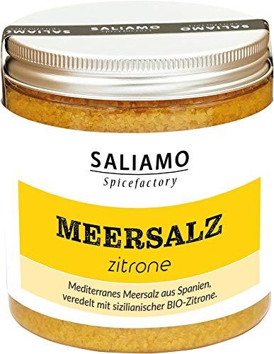 BIO Zitronen Salz, Meersalz mit Zitronengeschmack, Salz für Fisch Zitronensalz, Zitrus Salz, Meersalz Zitronenöl Kurkuma 250 g | Saliamo