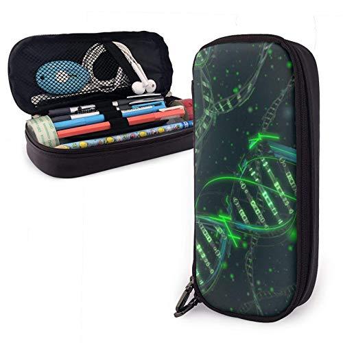 Student Große Kapazität Premium PU Leder Aufbewahrungsbeutel Bleistiftetui Briefpapierbeutelhalter Stilvolle DNA Science Pencil Bag