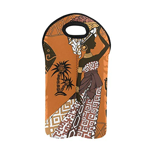 Weinträger-Einkaufstasche Schöne schwarze Frau Afrikanerin Afrikanisches Set Afrikanischer Schnaps-Tragetasche Doppelflaschenträger Picknick-Einkaufstasche Dicker Neopren-Weinflasc