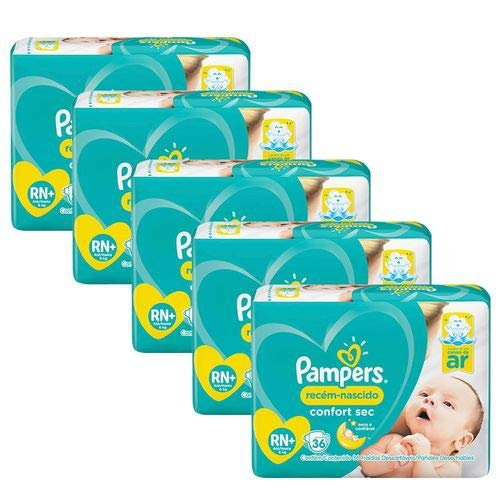 Kit Com 5 Fraldas Pampers Confort Sec Rn Plus Com 180 Unidades
