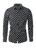 uxcell Camisa De Lunares para Hombres Mangas Largas Ajuste Delgado Negro 48