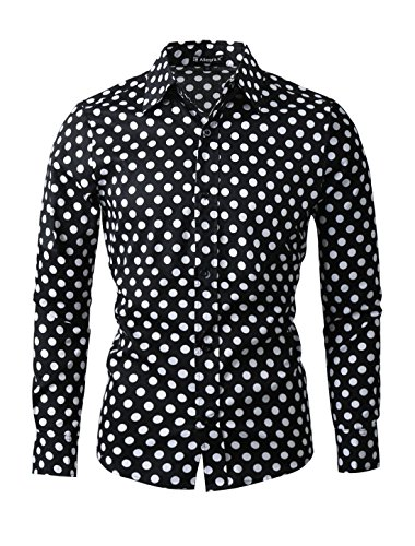 uxcell Camisa De Lunares para Hombres Mangas Largas Ajuste Delgado Negro 44