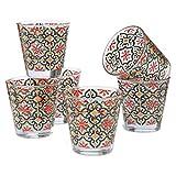 MONTEMAGGI Juego de 6 vasos de agua con diseño de Cefalú, de cristal, fabricados en Italia, capacidad de 25 cl.