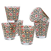 montemaggi set 6 bicchieri acqua decoro colorato cefalù in vetro made in italy capienza 25 cl.