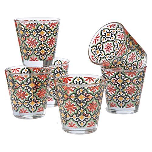 MONTEMAGGI Set 6 bicchieri acqua Decoro Colorato Stampato Cefalù in vetro MADE IN ITALY Capienza 25 Cl.