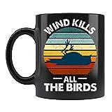 N\A Taza de Viento Mata a Todos los pájaros, Tazas de café de cerámica Negra de Estilo Vintage con Refranes Divertidos de Trump Joe Biden