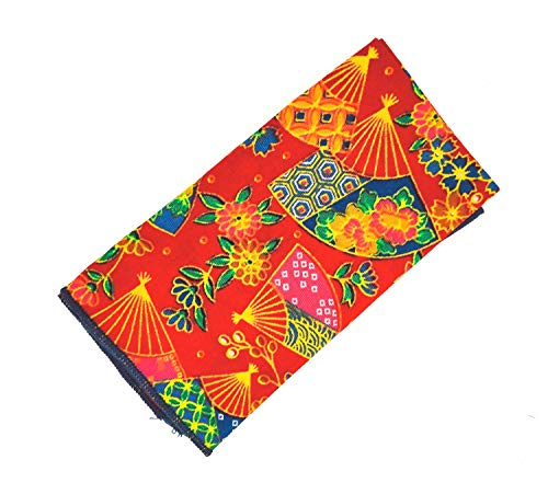 Gemelolandia Pañuelo de Algodon Rojo Abanico Estampado 23x23cm Diseño original para Usar...