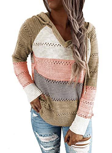 Hikaro - Sudadera de punto para mujer con capucha para invierno A-multicolor. S