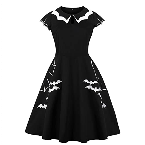 9752f7e0a1b Biback Women Plus Size Bat Spider Print Halloween Embroidered Collar 50s  Vintage Dress