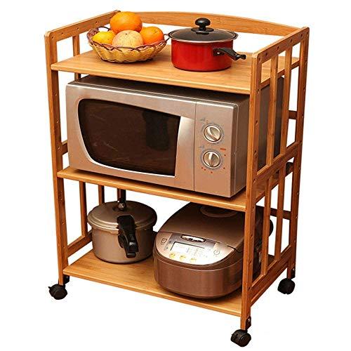 YAeele Estanterías cocina de microondas horno de carro de la compra de 3 niveles de utilidad Carro de cocina sobre ruedas con capacidad for almacenar la sala de estar Madera Look muebles multifunciona