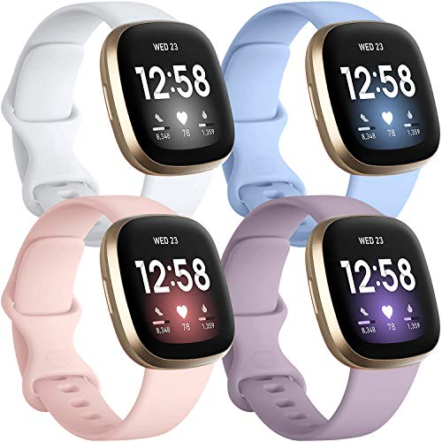Getino 4 Pack Bands Compatible with Fitbit Sense and Fitbit Versa 3, Soft Washable and Durable Silicone Sport Strap, Adjustable Replacement Wristbands for Women Men, Small Lilac/Pink/Lavender/White