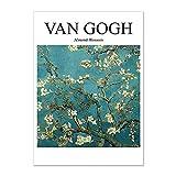 Cartel de paisaje abstracto de la noche estrellada de Van Gogh, cuadro de impresión de arte de pared clásico famoso, pintura de lienzo sin marco A6 15x20cm