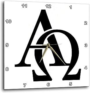 "3dRose dpp_157419_1 Alpha Omega Wall Clock, 10 by 10"""