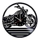 Motorcycle Wall Art Wall Clock Garage Sign Motorbike Vintage Vinyl Record Wall Clock Man Cave Decor Bikers Gift