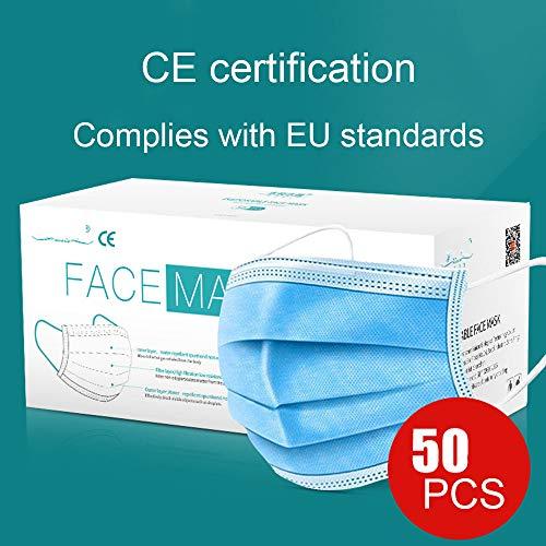 SIER 50 Parti di 3-Strato di Tessuto Non Nastro Protezione del Viso monouso per Adulti con Certificazione CE,Blu