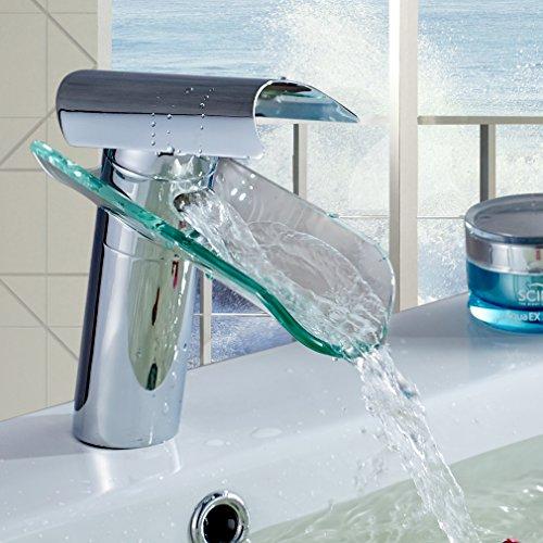 Auralum Wasserhahn Glas Spüle Waschtisch Waschtischarmatur Armatur für Bad - 3