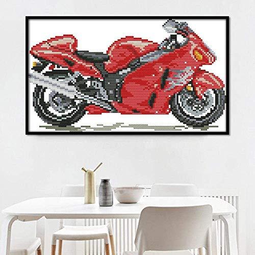 Caihoyu DIY Punto de Cruz Bordado de Kits Principiantes de Punto Motocicleta roja 40x50cm Adultos Niños Regalo decoración del hogar preimpreso Bordado de11CT