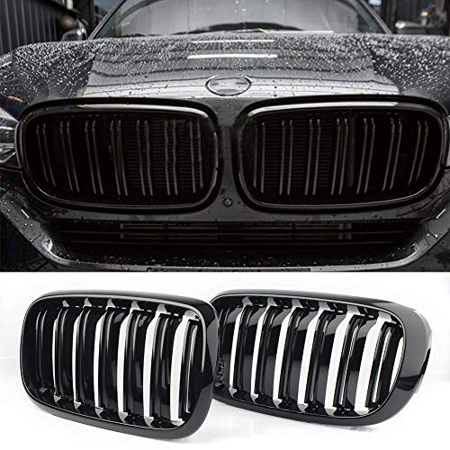 Front Replacement Kidney Grille Grill Compatible with BMW X5 Series F15 X6 Series F16 X5M F85 X6M F86 (Gloss Black)