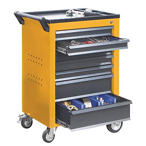 QUIPO Werkzeugwagen - 7 Schubladen mit Einzelarretierung - HxBxT 930 x 630 x 410 mm, gelb -...