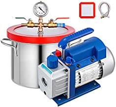 Bestauto 1.5 Gallon Vacuum Degassing Chamber Kit Stainless Steel Degassing Chamber 5.7L Vacuum Chamber Kit with 2.5 CFM Vacuum Pump - Not for Wood Stabilizing