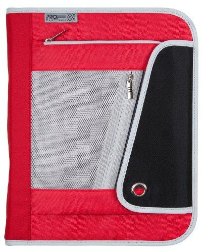 Mead 1-1/2Inch Zipper Binder, 3 Ring Binder, Heavy Duty, PRO Platinum, Red/Black (72860)