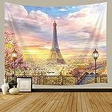 JAWO Frankreich-Wandteppich, Balkon auf dem Paris Effel Tower, Kunst Home Decor Tapisserie für Schlafzimmer Wohnzimmer Wohnheim Wandbehang Tapisserie Strand Überwurf Tischläufer Tuch 152,4 x 101,6 cm