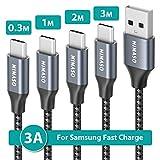 【4本セット 3m+2m+1m+0.3m】Nimaso USB TYPE C/タイプcケーブル 【 QC3.0 3A急速充電】 USB-A to USB-C ケーブル Switch、Macbook、iPad Pro(2018/2020)、Google、samsung、Sony、Huaweiなどtype c機器対応