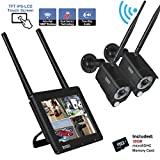 【PIR+Audio+Touchscreen】 Tonton Full HD WiFi Überwachungskamera 4-Kanal 7' Zoll Touchbildschirm 2 * 1080P Hausüberwachung, Zwei-Wege-Audio, Touchscreen, aufladbare Batterie, Pre-Aufnehme, 32G SD Karte