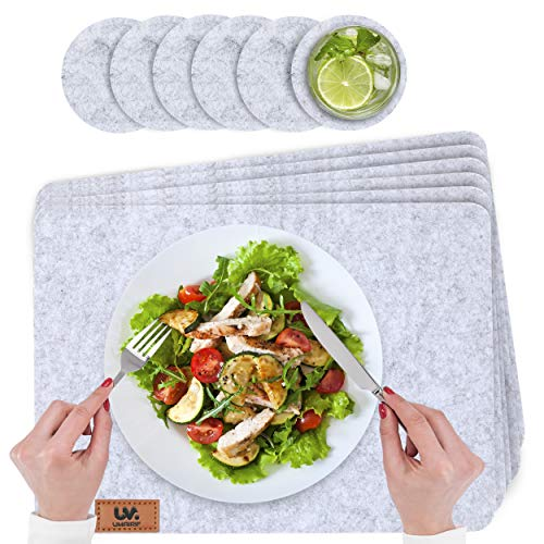 UMAIRIF Tischsets Abwaschbar Filz 12er Set Platzdeckchen Abwaschbar in Grau Mit Marken Echtleder Label 6 Platzset Abwischbar 44x32 cm 6 Glasuntersetzer platzset rund 10cm platzset Filz
