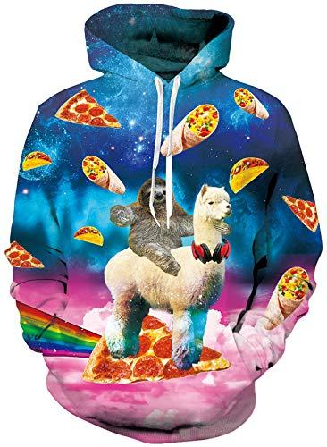 Loveternal Unisex 3D Druck Hoodie Alpaka Kapuzenpullover Coole Langarm Alpaca Pullover Casual Sweatshirt für Frauen Männer XL