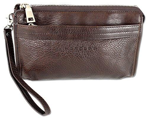 HAROLD'S Echtleder Handgelenktasche mit abnehmbarer Schlaufe - praktische Herren-Handtasche aus weichem, hochwertigem Leder (bordeaux)