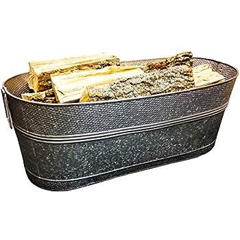 BREKX Massive 80-Quart Hammered Galvanized Firewood Container Beverage Tub and Garden Planter Tub