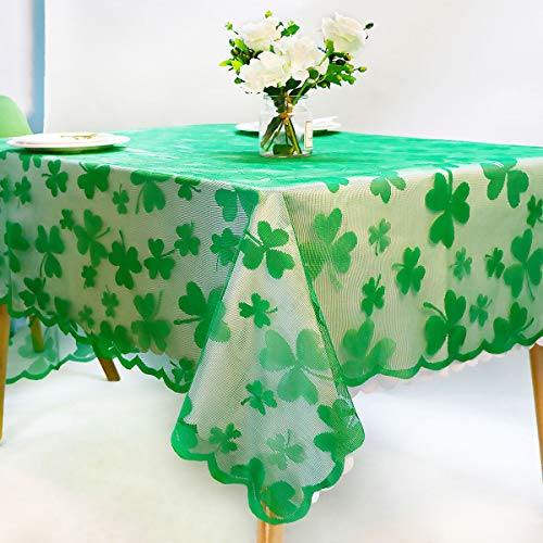 Asunflower Tablecloth Rectangle 60' x 84' Green St. Patrick's Day Table Decor with Embroidered Shamrock, Lace Irish Clover Table Cloth Holiday Cover