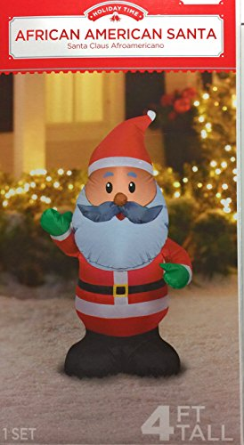 African American Santa Claus Inflatable 4 foot Holiday Yard Decoration by Holiday Time