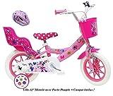 Vélo 12' Fille Licence Minnie avec 2 Freins, stabilisateurs, Panier Avant et Porte pouppée arrière + Casque Minnie Inclus