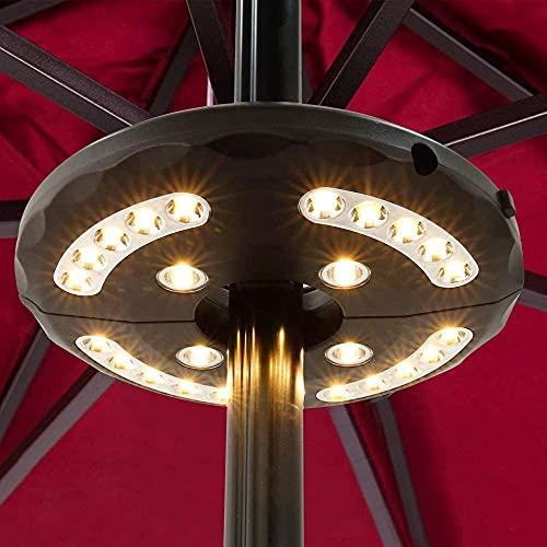 Luces para sombrilla, 24 luces LED de color blanco cálido, 3 modos de brillo sin cable, 4 pilas AA con sombrilla para jardín, patio, tiendas de campaña o uso al aire libre