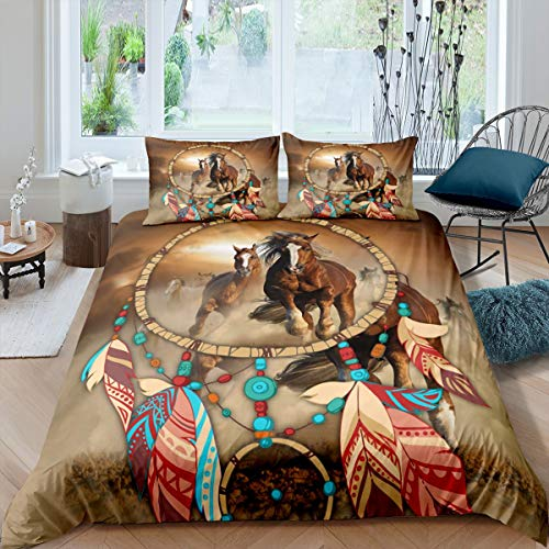 Dreamcatcher Bedding Set Brown Horse Comforter Cover Ethnic Bohemian Feather Duvet Cover For Kids Girls Boys Exotic Running Horse Western Cowboy Style Bedclothes With 2 Pillow Cases Queen Size