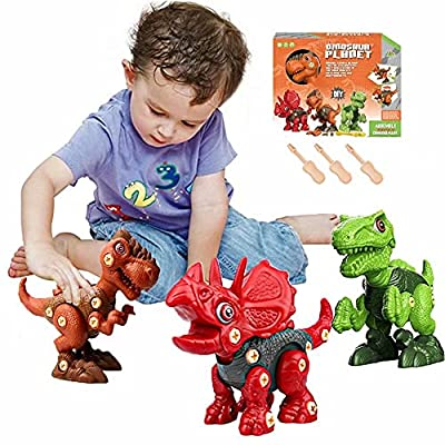 Dinosaur Toys Gifts for 3 4 5 6 7 8 Year Old Boys Girls take Apart Dinosaur Toys for Kids Age 3-5 5-7 STEM Educational Building Learning Construction Sets Toddlers Birthday Gifts by Tenhitoys