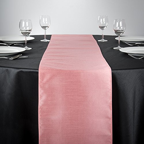 LinenTablecloth Shantung Silk Table Runner, 14 x 108, Pink