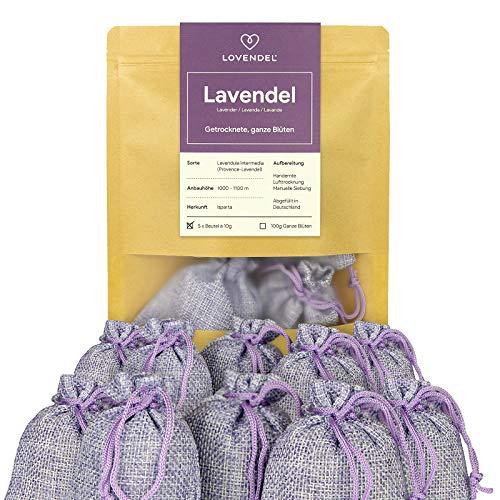 LOVENDEL 10 x Lavendelsäckchen mit Lavendel-Blüten - 100g Natürlicher Mottenschutz in Duftsäckchen für den Kleiderschrank