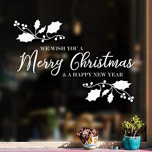 Vinyl Wall Art Decal - We Wish You A Merry Christmas - 22.5' x 32' - Christmas Holiday Seasonal Sticker - Indoor Home Apartment Wall Door Window Bedroom Workplace Decor Decals (White)