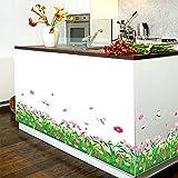 WandSticker4U®- Wandtattoo Blumenwiese mit Libellen I