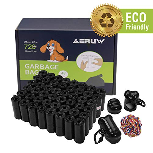OUGE Dog Poop Bag Pet Dog Waste Bags 720counts 48 Refill Rolls with 2 Dispensers amp Leash Clip Easy TearOff Poo Pickup Bags Pooper Scooper LeakOff Pet Supplies Black48
