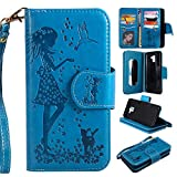 Abtory Galaxy J6 2018 Case, for Galaxy J6 2018S Wallet Case, PU Leather [9 Card Slots] ID Credit Folio Flip Magnetic Kickstand Cover for Samsung Galaxy J6 2018with Wrist Strap Blue