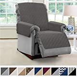 MIGHTY MONKEY Premium Reversible Recliner Protector, Seat Width to 28 Inch, Furniture Slipcover, 2 Inch Strap, Reclining Chair Slip Cover Throw for Pets, Dogs, Recliner, Charcoal Light Gray