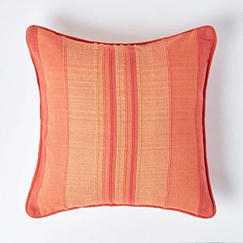 Homescapes Kissenhülle Morocco, Terracotta-orangener Zierkissenbezug 60 x 60 cm in Streifen-Optik aus 100prozent Baumwolle, Kissenbezug für Dekokissen/Sofakissen, mit Reißverschluss
