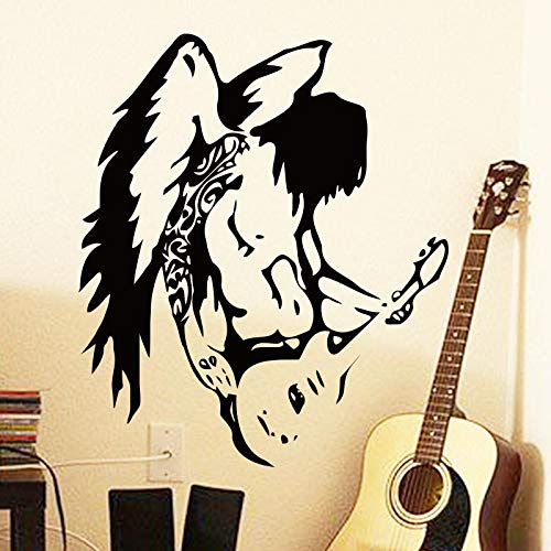 QQCYWZK Kunstdesign billig Wohnkultur schwarz Gel cool Engel Gitarre Wandaufkleber abnehmbare PVC Hausdekoration Musik Wandaufkleber in der Bar und 58x68cm