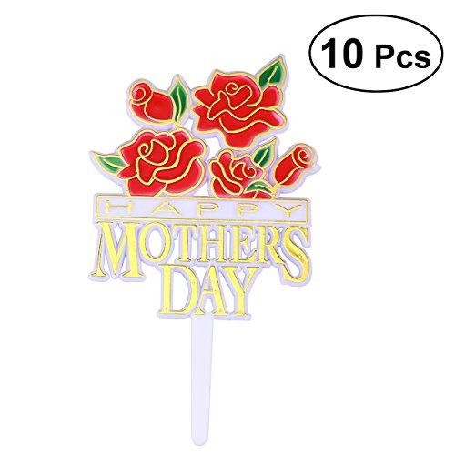 LUOEM Topper de Tartas Feliz Día de la Madre Rosa 10 Piezas (Rojo)