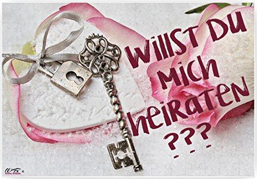 WB wohn trends Puzzle-Botschaft eckig, HEIRATSANTRAG: Willst Du Mich heiraten? - Schlüssel, 120 Teile 27x18cm inkl. Geschenk-Beutel